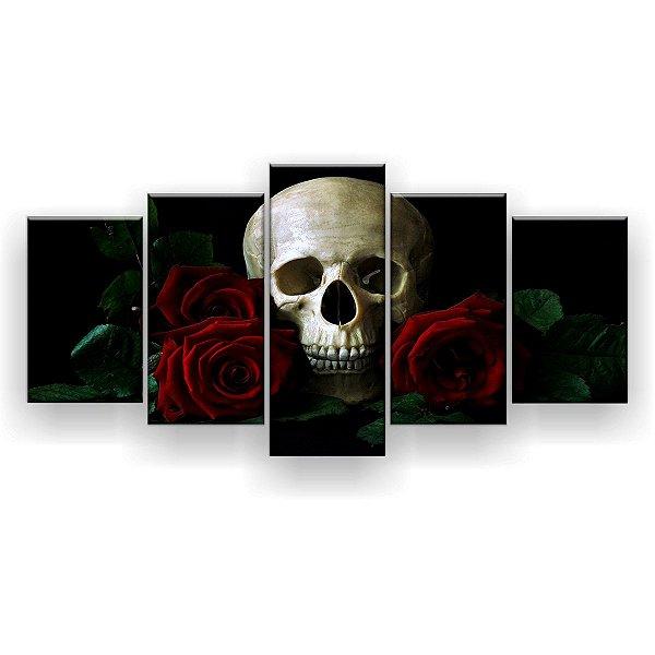 Quadro Decorativo Caveira Rosas Vermelhas 129x61 5pc Sala