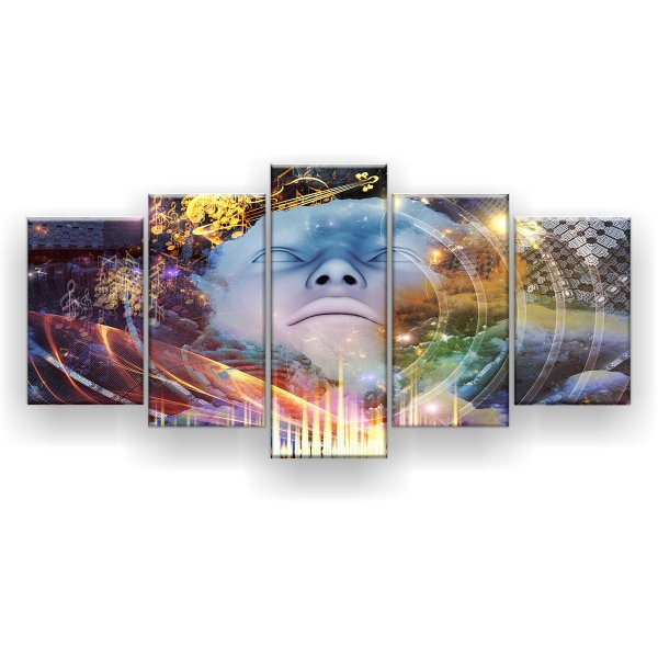 Quadro Decorativo Forma Humana Música Geométrica 129x61 5pc Sala