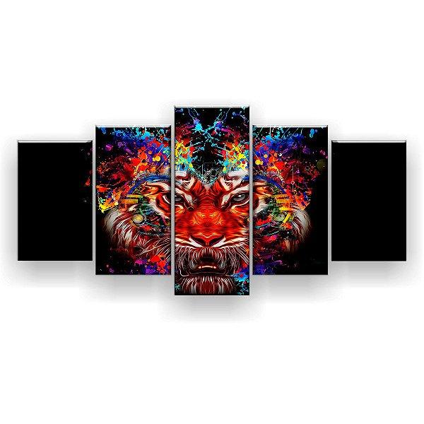 Quadro Decorativo Cabeça De Tigre Fundo Preto  129x61 5pc Sala
