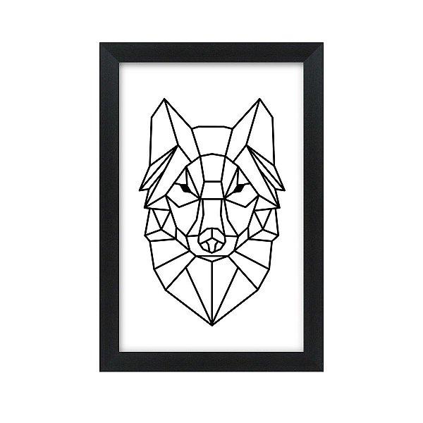 Quadro Decorativo Lobo Desenho 33x22 Sala Quarto