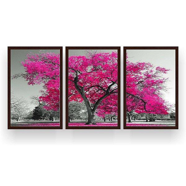 Quadro Decorativo Árvore Grande Pink 3P 124x60 Sala Quarto