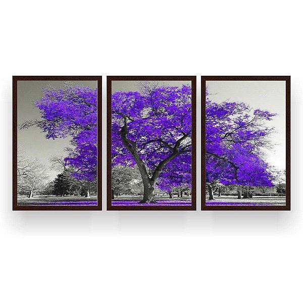 Quadro Decorativo Árvore Grande Roxa 3P 124x60 Sala Quarto