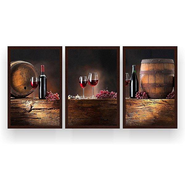 Quadro Decorativo Vinho Uvas 3P 124x60 Sala Quarto