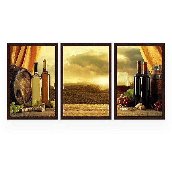 Quadro Decorativo Cortina Vinho 3P 124x60 Sala Quarto