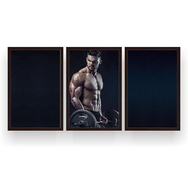 Quadro Decorativo Bíceps Barra Homem 3P 124x60 Sala Quarto
