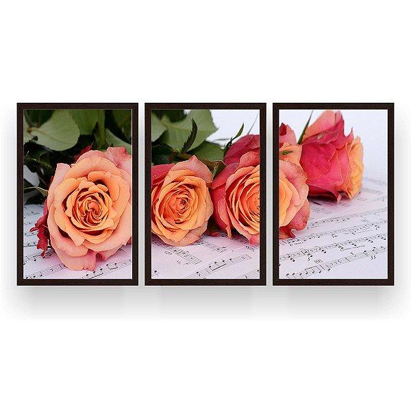 Quadro Decorativo Rosas Notas Musicais 3P 124x60 Sala Quarto