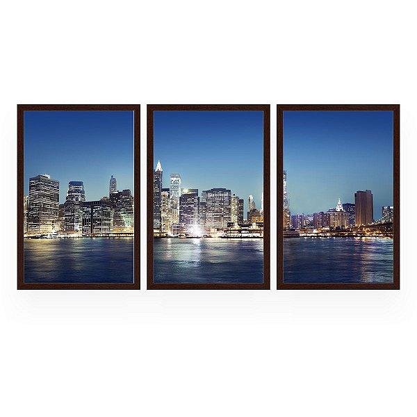 Quadro Decorativo Nova Iorque New York 3P 124x60 Sala Quarto