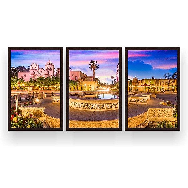 Quadro Decorativo San Diego Califórnia 3P 124x60 Sala Quarto