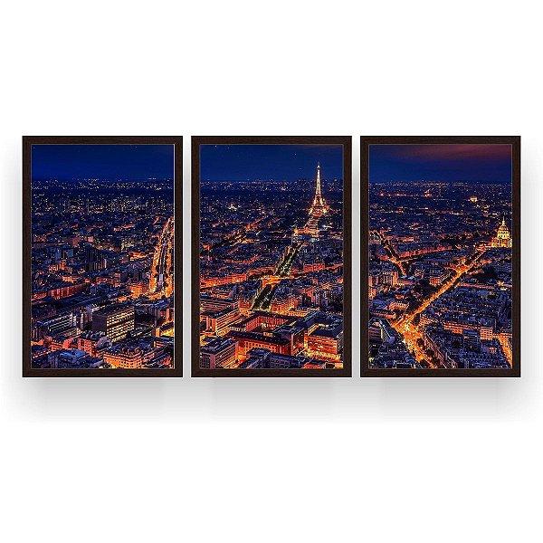 Quadro Decorativo Paris Hot 3P 124x60 Sala Quarto
