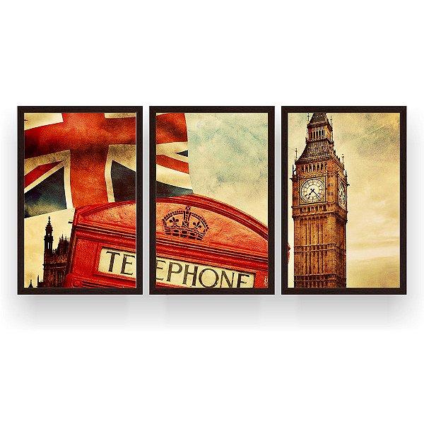 Quadro Decorativo Telefone Big Ben 3P 124x60 Sala Quarto