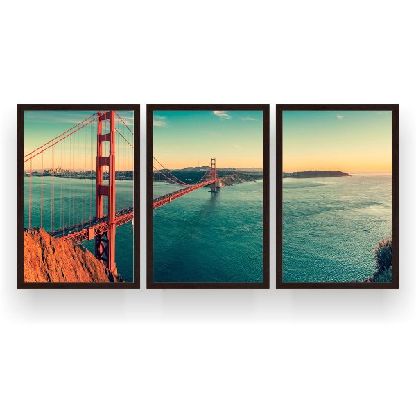 Quadro Decorativo Golden Gate 3P 124x60 Sala Quarto