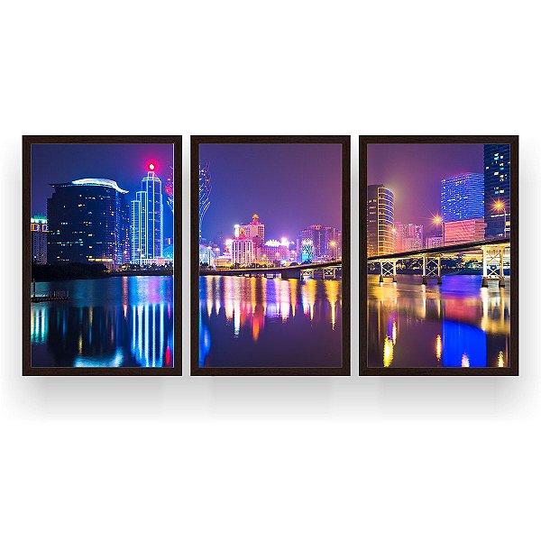 Quadro Decorativo Macau China 3P 124x60 Sala Quarto
