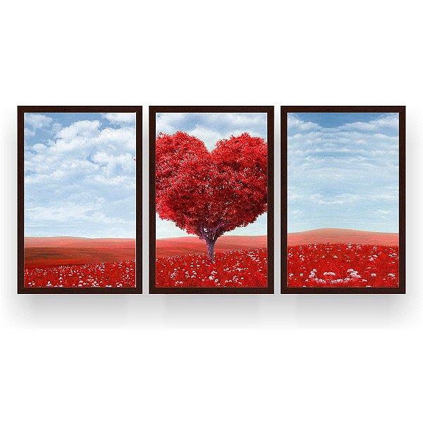 Quadro Decorativo Árvore Coração Vermelho Céu Azul 3P 124x60 Sala Quarto