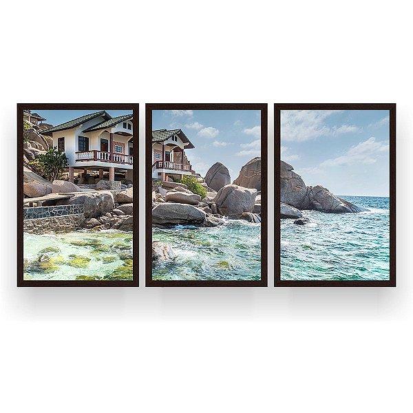 Quadro Decorativo Ilha Koh Tao Tailândia 3P 124x60 Sala Quarto