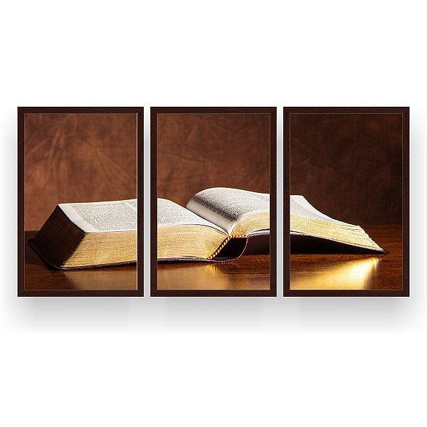 Quadro Decorativo Bíblia Sagrada 3P 124x60 Sala Quarto
