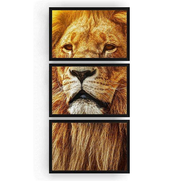 Quadro Decorativo Leão Rei Da Selva 3PV 60x124 Sala Quarto