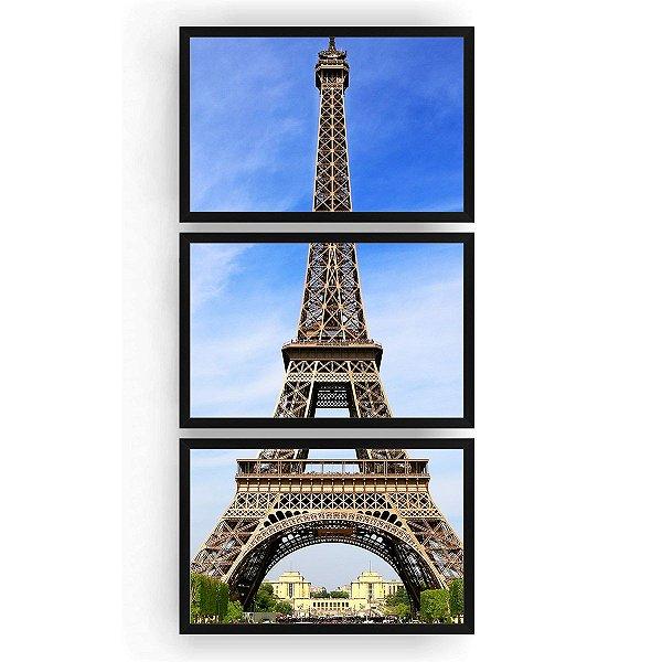 Quadro Decorativo Paris 3PV 60x124 Sala Quarto