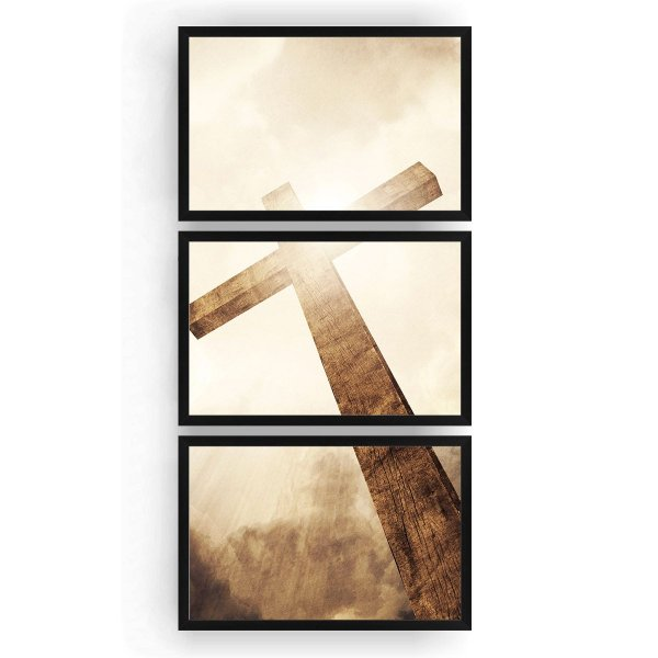 Quadro Decorativo Cruz Raio De Sol 3PV 60x124 Sala Quarto