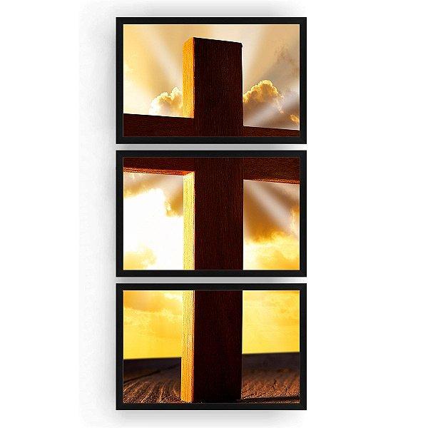 Quadro Decorativo Cruz Fundo Sol 3PV 60x124 Sala Quarto