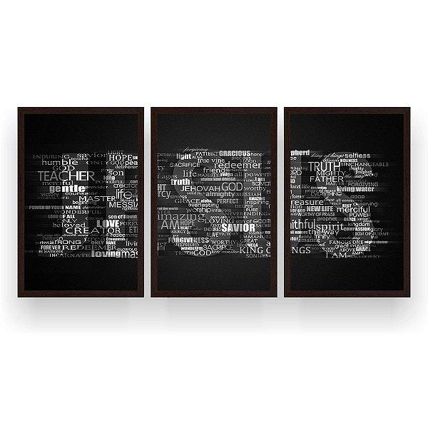 Quadro Decorativo Jesus Escrita Preto Branco 3P 124x60 Sala Quarto