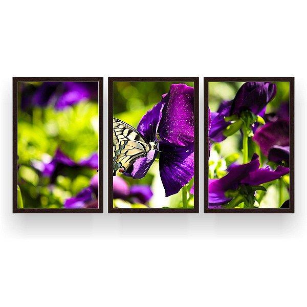 Quadro Decorativo Borboleta Flores Roxa 3P 124x60 Sala Quarto