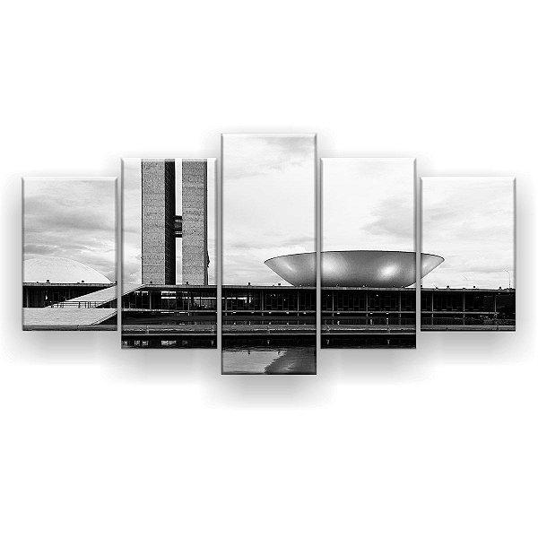 Quadro Decorativo Congresso Nacional Preto E Branco 129x61 5pc Sala