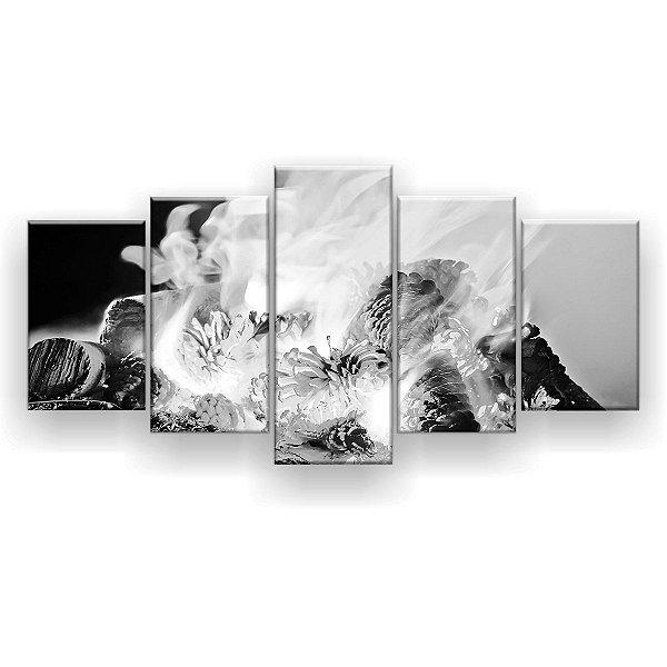 Quadro Decorativo Fogueira Preto E Branco 129x61 5pc Sala