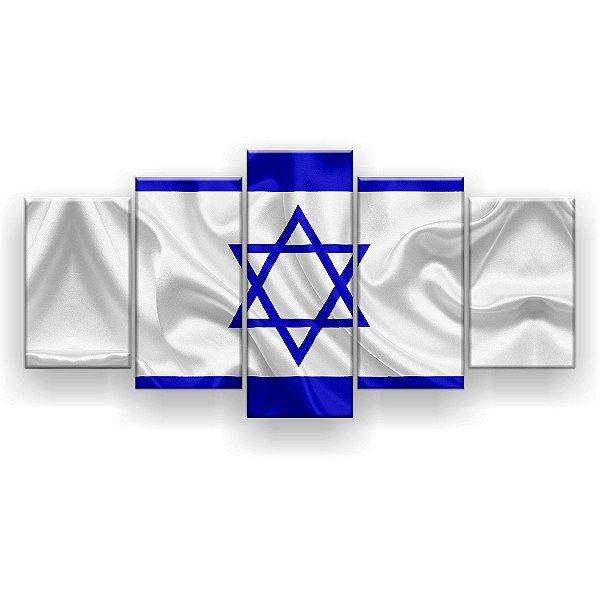 Quadro Decorativo Bandeira De Israel 129x61 5pc Sala