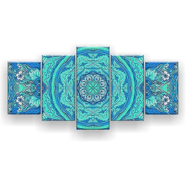 Quadro Decorativo Mandala Seda Floral 129x61 5pc Sala