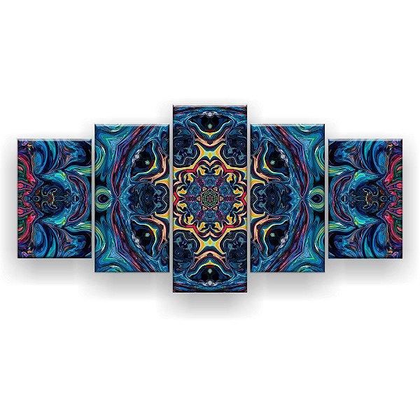 Quadro Decorativo Mandala Design Multicolorido 129x61 5pc Sala