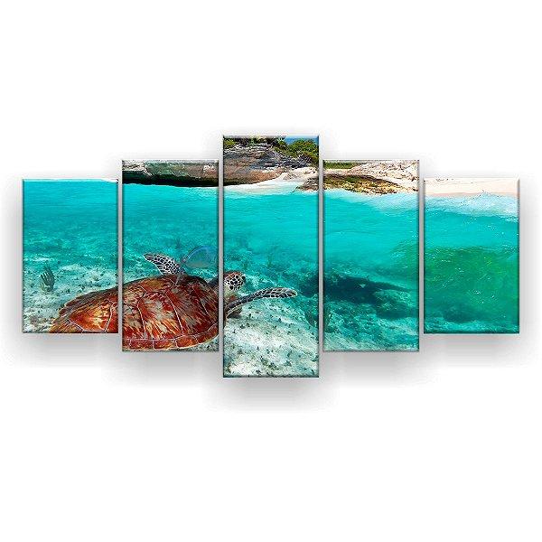 Quadro Decorativo Tartaruga na Praia 129x61 5pc Sala