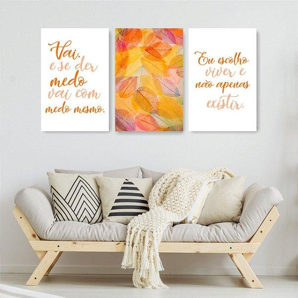 Quadro Decorativo Felicidade Viver Laranja 3P Sem Moldura 115x57 Sala Quarto