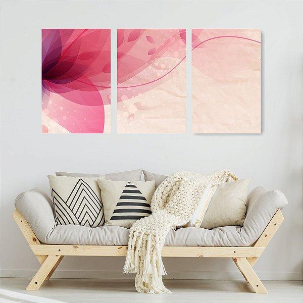 Quadro Decorativo Flor Rosa Pattern 3P Sem Moldura 115x57 Sala Quarto