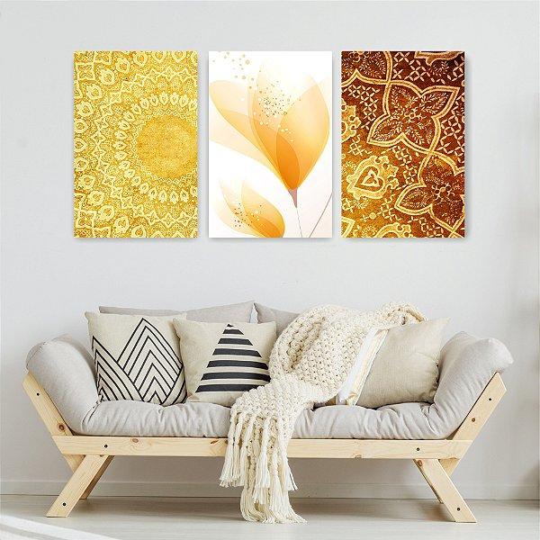 Quadro Decorativo Flor Dourada 3P Sem Moldura 115x57 Sala Quarto