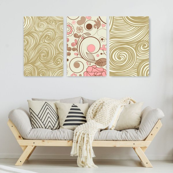 Quadro Decorativo Arte Textura Rosa 3P Sem Moldura 115x57 Sala Quarto