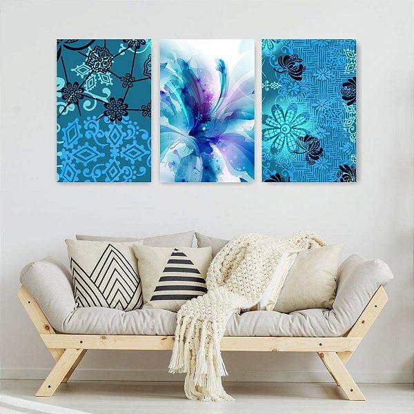 Quadro Decorativo Brisa Azul 3P Sem Moldura 115x57 Sala Quarto