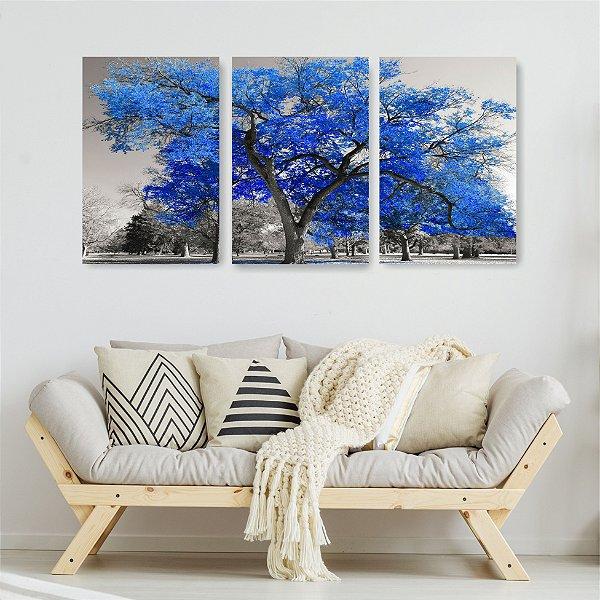 Quadro Decorativo Árvore Grande Azul 3P Sem Moldura 115x57 Sala Quarto