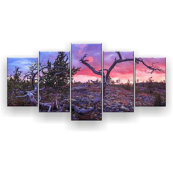Quadro Decorativo Árvore Seca Pedras No Chão 129x61 5pc Sala