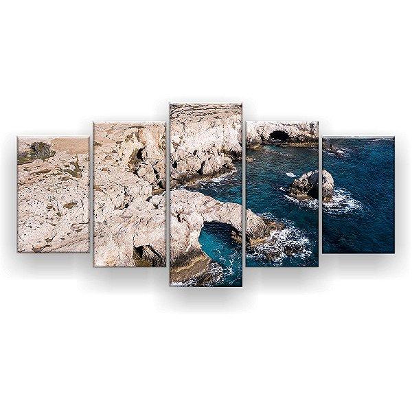 Quadro Decorativo Costa Rochosa 129x61 5pc Sala