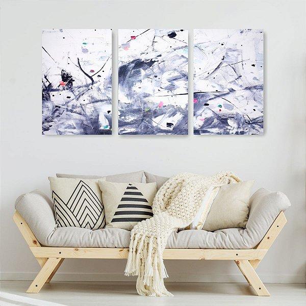 Quadro Decorativo Abstrato Concreto 3P Sem Moldura 115x57 Sala Quarto