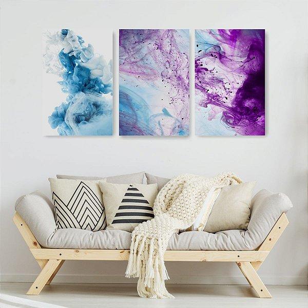 Quadro Decorativo Abstrato Tinta Azul E Violeta 3P Sem Moldura 115x57 Sala Quarto