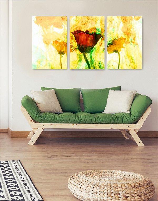 Quadro Decorativo Flor Fumaça Amarela 3P Sem Moldura 115x57 Sala Quarto