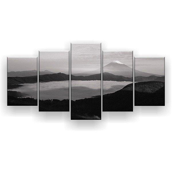 Quadro Decorativo Nevoeiro Preto E Branco 129x61 5pc Sala