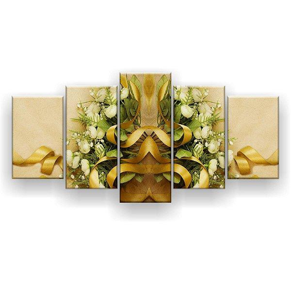 Quadro Decorativo Buquê 129x61 5pc Sala