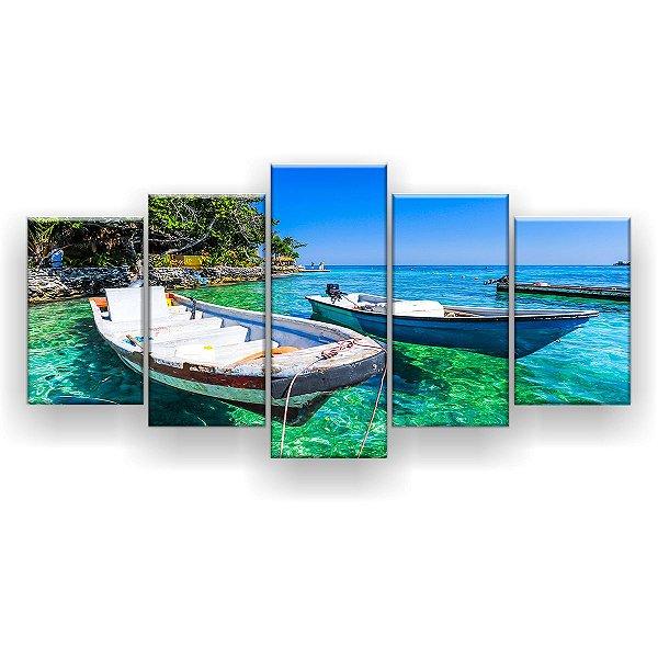 Quadro Decorativo Barcos Mar Verde 129x61 5pc Sala