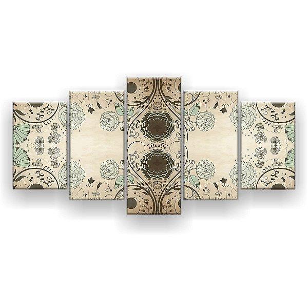 Quadro Decorativo Flores Verdes Mandala 129x61 5pc Sala