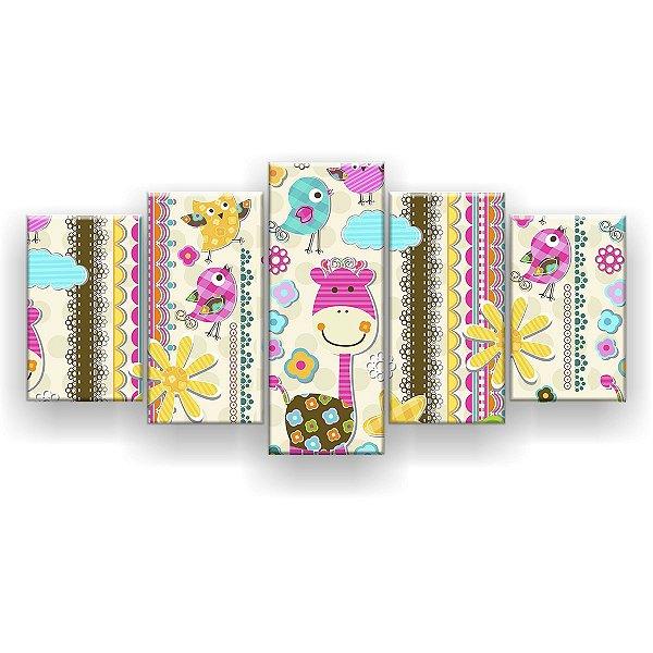 Quadro Decorativo Animais Coloridos Pattern 129x61 5pc Sala