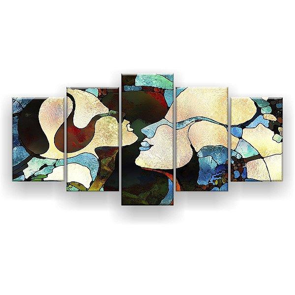 Quadro Decorativo Pintura Abstrato Dois Rostos 129x61 5pc Sala