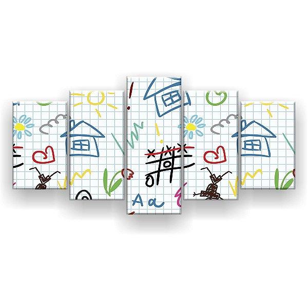 Quadro Decorativo Desenho De Criança 129x61 5pc Sala