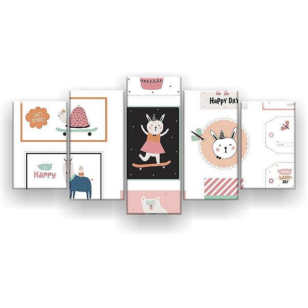Quadro Decorativo Desenho Montessori 129x61 5pc Sala